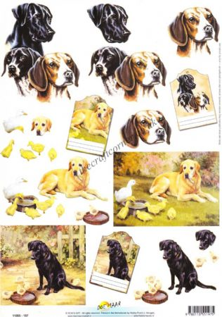Dogs & Ducks 3d Decoupage Craft Sheet